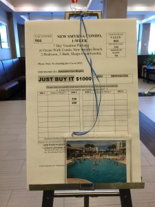 photo of bid sheet blown up to poster size