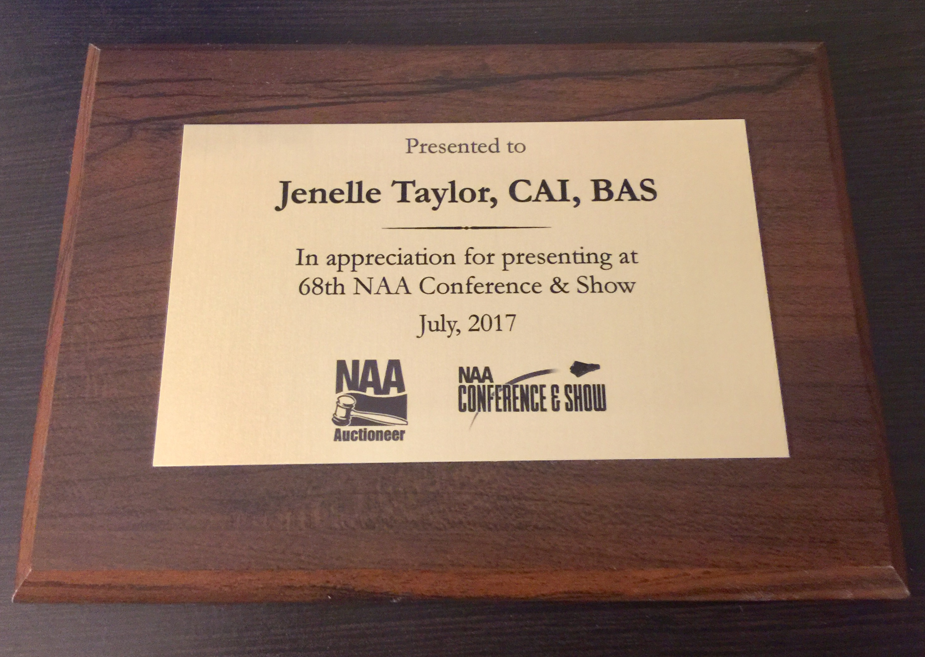 plaque NAA award Jenelle Taylor