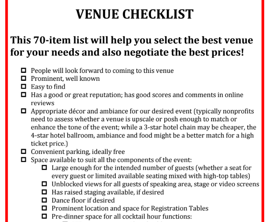 image of Venue Checklist